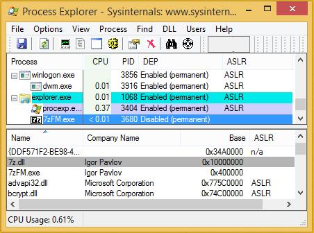 7-Zip 18.00 in Process Explorer on Windows 8.1 x86